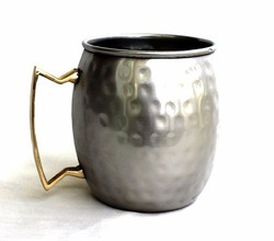DIOS Silver Stainless Steel Moscow Mule Mug Brass Handle