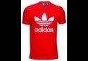 Men Vivid Red/white Adidas Originals Trefoil T Shirt