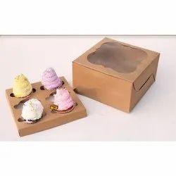 6 Cavity Brown Cloud Window Cupcake Box