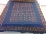 Designer White And Blue Bed Cover Silk Kashmiri Embroidery