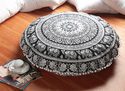 Cotton Golden Print Round Floor Pillow Hand Block Cushion Cover
