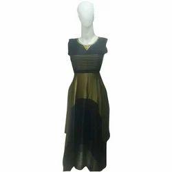 Ladies Round Neck Printed Designer Fashion Gown
