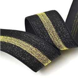 Polyester and Zari Plain Lurex Elastic, Thickness: 1mm, Size: 0.4 - 15 CM