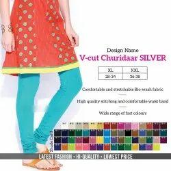 Churidar Ladies V-Cut Churidaar Plain Cotton Lycra Legging, Size: XL, XXL