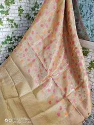 Jacquard Embroidered Tissue Silk Linen Sarees, Machine Made, 6.5 m