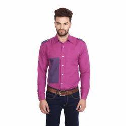 Magenta Linen Designer Casual Shirt, Size: 42