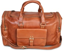 Mon Exports Brown Genuine Leather Duffle Bag For Travel