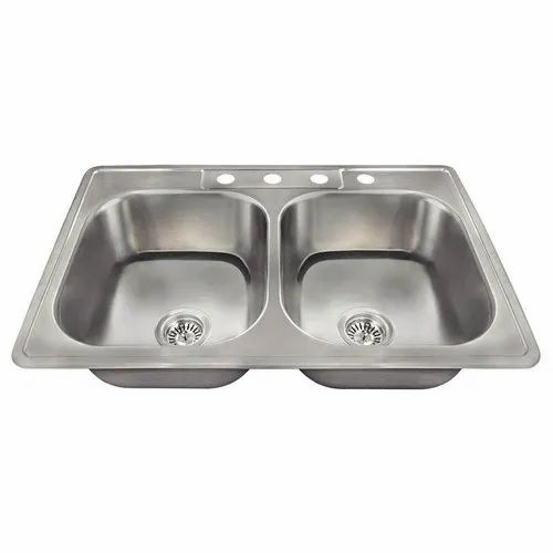 Double Stainless Steel Kitchen Sink, L X 33 In. W X 7-1/2 In. D (Outer  Dimension), Rs 800 /piece | ID: 19511728733