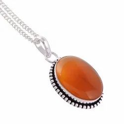 Silver Oxidized Oval Shape Red Onyx Gemstone Women Chain Long Pendant