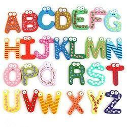 Colorful Wooden A to Z Alphabet Letters Fridge Magnets