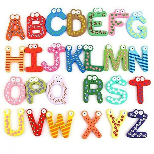 Colorful Wooden A To Z Alphabet Letters Fridge Magnets 26 Pc