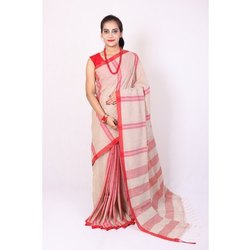 DRAPEUP Festive Wear Ladies Pure Khadi Cotton Saree, 6 m (with blouse piece)