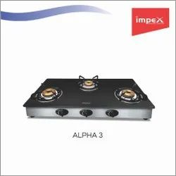 3 Burner Glass Gas Stove - Alpha 3