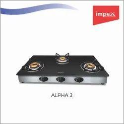 3 Burner Glass Gas Stove - Alpha 3