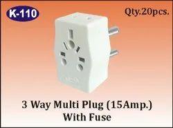 K-110 3 Way Multi Plug (15A) With Fuse