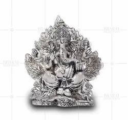 White Metal Ganesh In Leaf