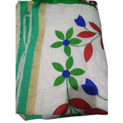 6.5 Meter Applique Work Ladies Applique Chanderi Cotton Saree, With Blouse Piece