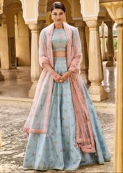 Ceremonial Stitched Sky Blue Designer Silk Lehenga Choli