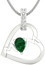 Party Wear Perrian 18KT Gold, Diamond and Emerald Pendant for Women