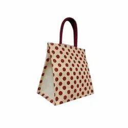 Jute Dot Printed Tote Bag