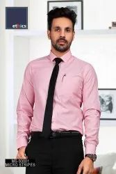 Pink Micro Stripes Mens Uniform Shirts for Corporate Office