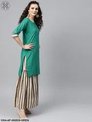 Nayo Solid Green Kurta Set With Geometric Printed Sahara