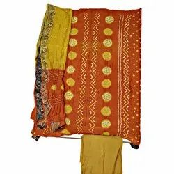 Rust And Golden Color Fancy Design Gadhwal Bandhani Dress Material