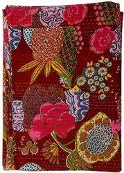 Maroon Printed Kantha Bedspread