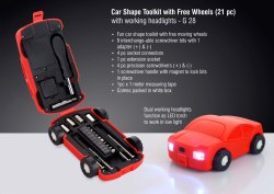 G28 - Car Shape Toolkit With Free Wheels 21 Pc  With Working Headlights