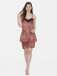 Women Leopard Print Satin Sleeveles Top and Shorts (Available in 2 Colors)