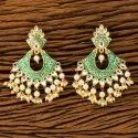 Green Indo Western Classic Earring With Gold Plating 100270
