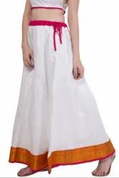 White Art Silk Readymade Skirt