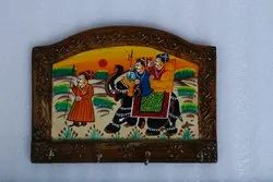 Rajasthani Wooden Colorful Painted Round Shaped Key Stand Key Holder