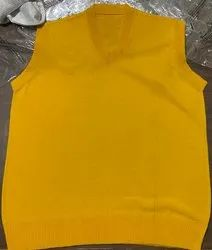 Yellow v Neck Men Woolen Sweater