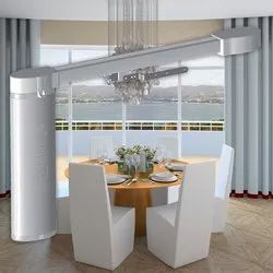 Horizental Plain Motorized Curtain, For Home, Remote
