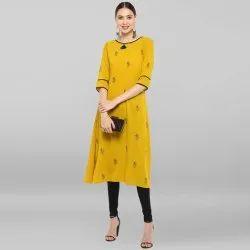 Yellow Poly Crepe Kurta(JNE3388)