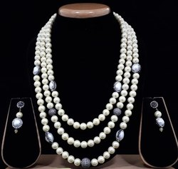 Beaded Necklace White Fancy Mala Set, Occasion: Party, Size: 20