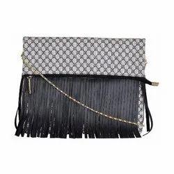Azzra Black Fringed Design Golden Chain Sling Bag
