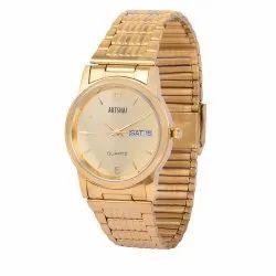 Artshai Date and Day Feature Golden Wrist Watch, 3007 ,Warranty: 365 Days