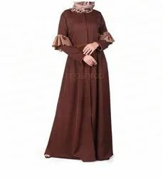Brown Ruffled Elbow Jilbab