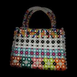 Handbags Multi Color Hand Bag Made Of Pearl for Casual Wear