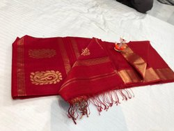 Traditional Wear Handwooven Maheshwari Pure Silk Hansa Booti Saree With Contrast Blouse
