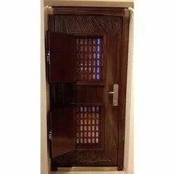 Cherry Colour Steel Double Window Door