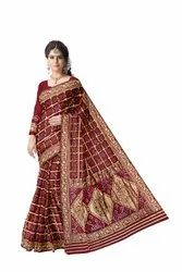 All Over Maroon Color Fancy Design Art Gaji Silk Bandhani Saree