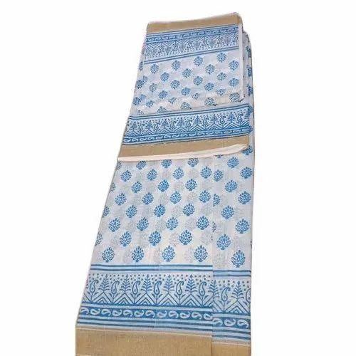 Kerala cotton Casual Wear Printed Mekhla Chadar, Hand Made