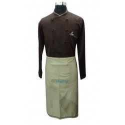 Chef Coat Brown Executive Beige Pipin Trimming With Beige Apron