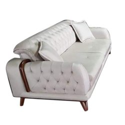 Modern White Leather 2 Seater Sofa, 5 Inch, Living Room
