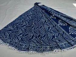 Indigo Dabu Ajrakh Hand Block Malmal Cotton Saree