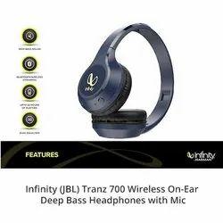 Blue JBL Infinity Tranz 700 Wireless On-Ear Headphones with Mic