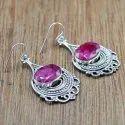 925 Sterling Silver Jewelry Ruby Gemstone Stone Earring WE-6046